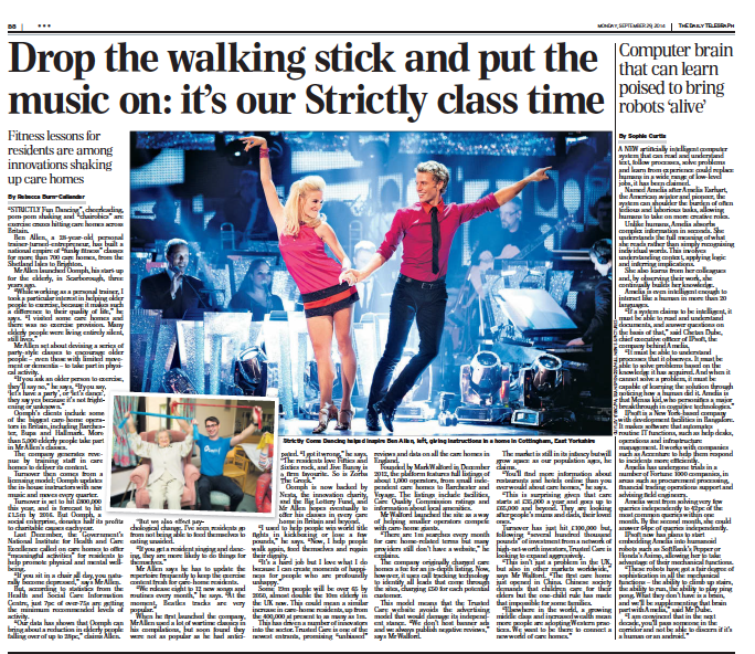 Photo-feature in the Daily Telegraph, secured for our client, Oomph, by Springup PR